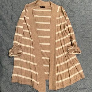 Tan and White Stripped Cardigan